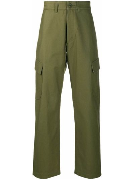 Хлопковые прямые зеленые прямые брюки на молнии Junya Watanabe Man