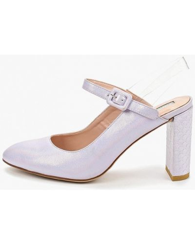 Туфли на каблуке кожаные с открытой пяткой Inario