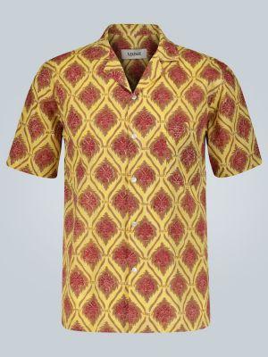 Хлопковая желтая прямая рубашка с воротником Adish