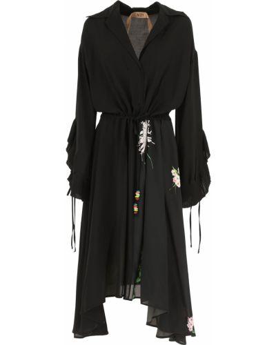 Czarna sukienka wieczorowa z długimi rękawami z wiskozy No. 21