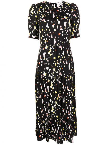 Черное платье мини с вырезом с короткими рукавами из вискозы Ba&sh
