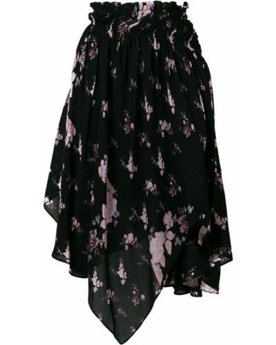 Черная юбка миди с поясом в рубчик Preen Line