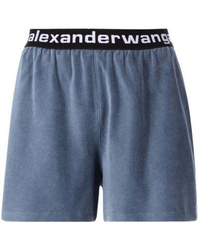 Синие шорты с логотипом Alexanderwang.t