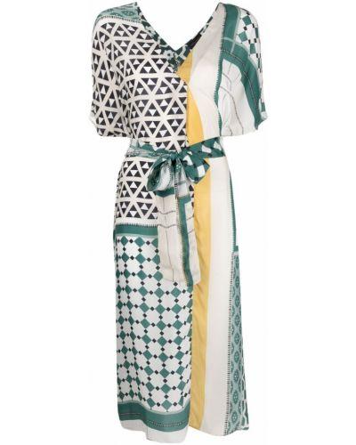 Расклешенное белое платье с V-образным вырезом Roberto Collina