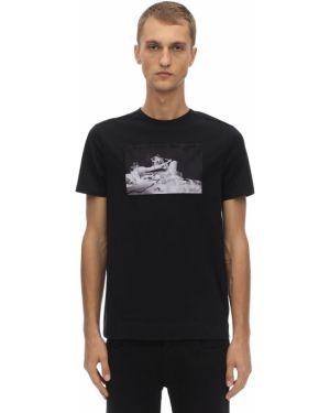 Трикотажная черная футболка с воротником Limitato