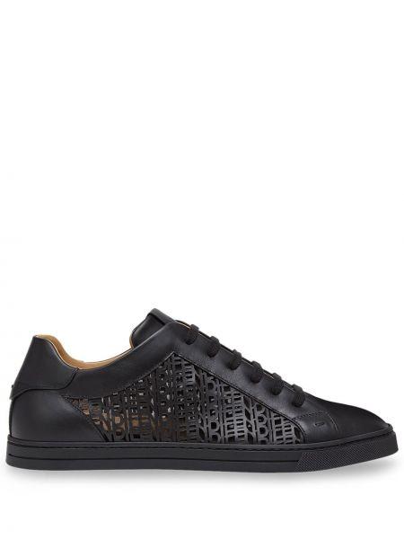 Skórzane sneakersy z logo sznurowane Fendi