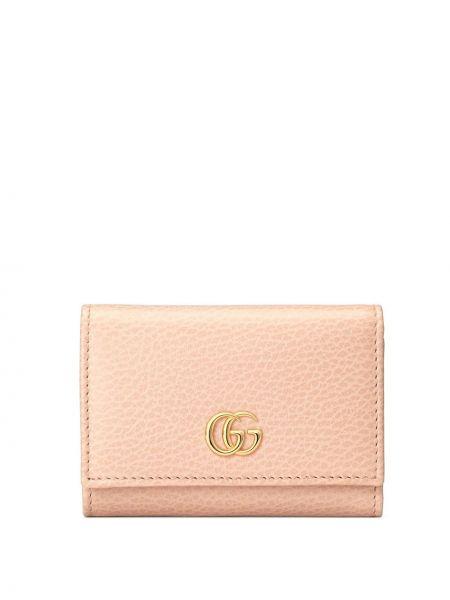 Różowy portfel na monety skórzany Gucci