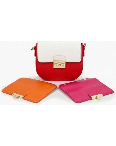 Кожаная сумка через плечо красная Vitacci