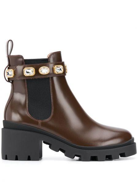 Brązowy buty na pięcie z prawdziwej skóry okrągły na pięcie Gucci