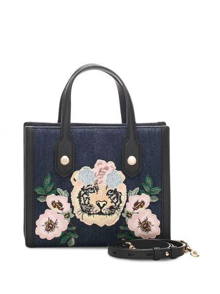Синяя парусиновая сумка на плечо с нашивками с потайной застежкой Gucci Pre-owned