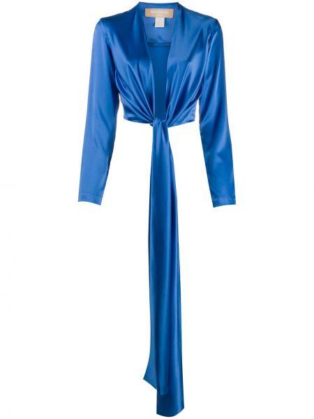 Шелковая синяя блузка с длинным рукавом с V-образным вырезом с запахом Matériel