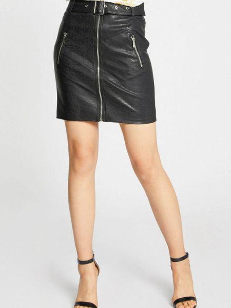Кожаная юбка черная весенняя Morgan