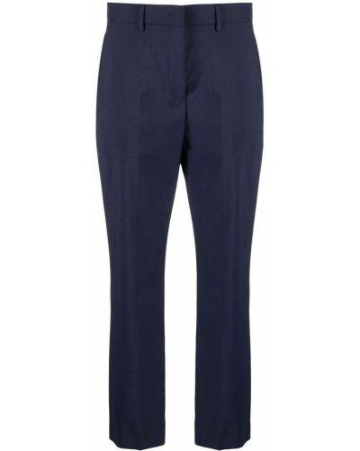 Шерстяные синие укороченные брюки с потайной застежкой Paul Smith