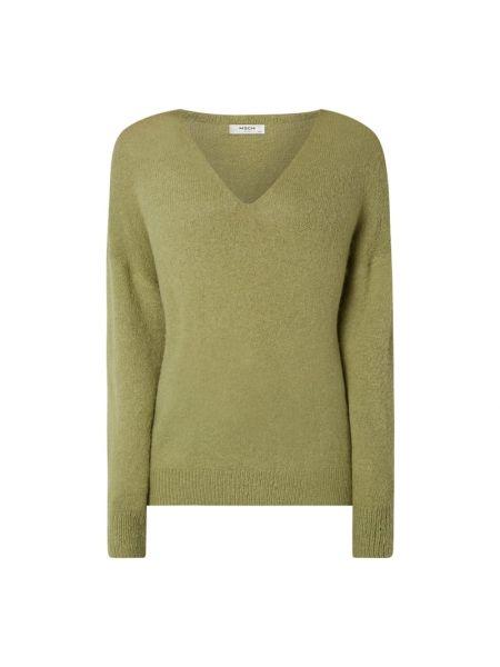Zielony sweter wełniany z dekoltem w serek Moss Copenhagen