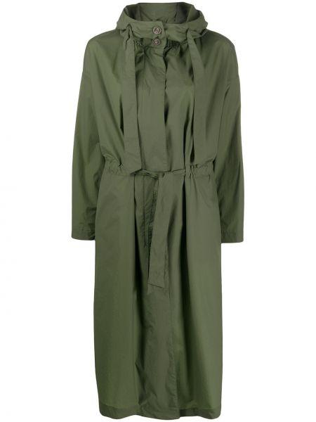 Зеленая длинное пальто с капюшоном на шнурках Herno