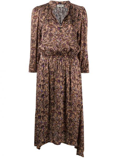 Коричневое классическое платье миди с вышивкой с воротником Zadig&voltaire