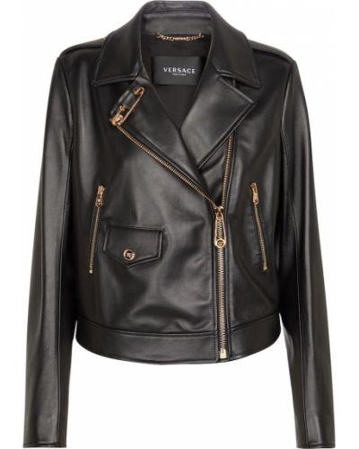 Черная кожаная куртка Versace