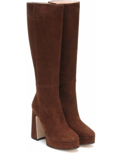 Brązowy buty na platformie z prawdziwej skóry na platformie w połowie kolana Gucci
