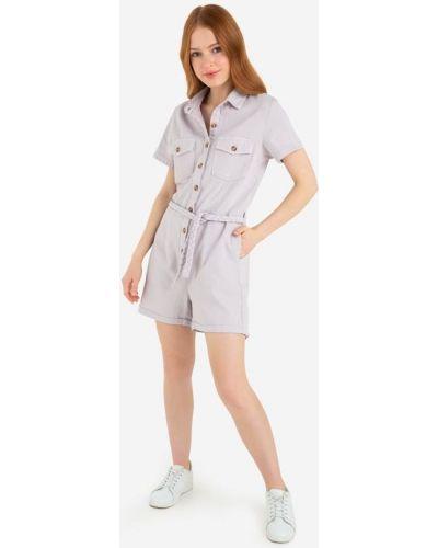 Джинсовый сиреневый платье мини на пуговицах Gloria Jeans