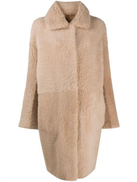 Бежевое кожаное длинное пальто с воротником Manzoni 24