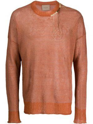 Вязаный длинный свитер в полоску с вырезом Federico Curradi