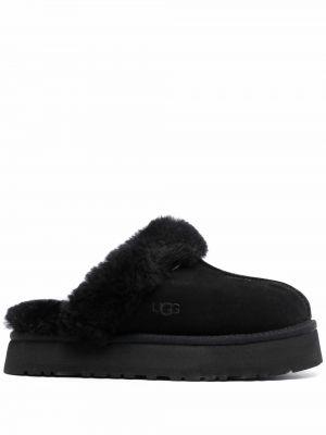 Черные кожаные тапочки Ugg