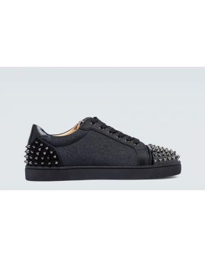 Czarny włókienniczy sneakersy na pięcie z kolcami Christian Louboutin