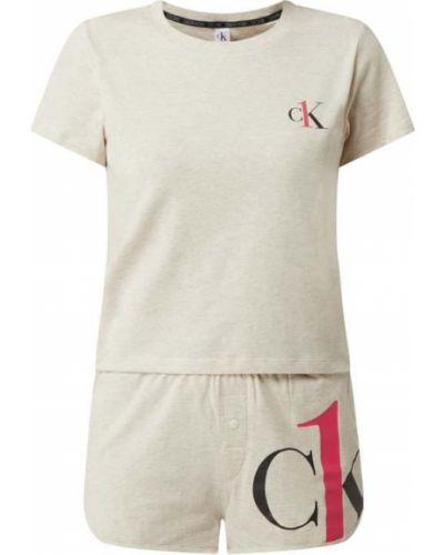 Piżama bawełniana - beżowa Ck One