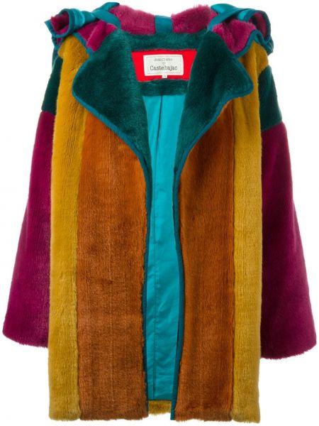 Длинное пальто с мехом с капюшоном из искусственного меха Jc De Castelbajac Pre-owned
