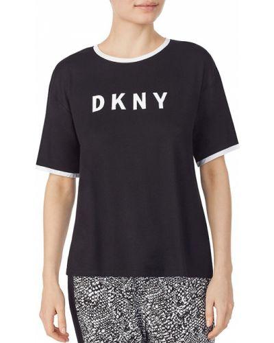 Черная футболка с короткими рукавами для сна Dkny