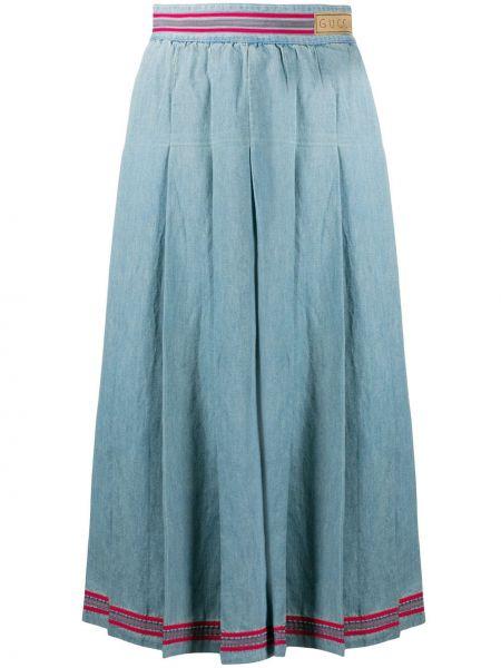 Плиссированная юбка миди джинсовая Gucci