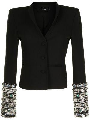 Черный пиджак из вискозы с отворотом Amen.