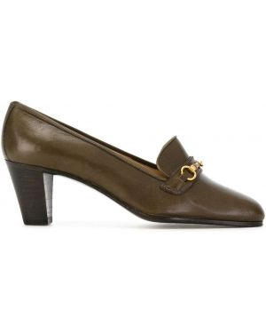 Коричневые лоферы на каблуке винтажные Céline Pre-owned