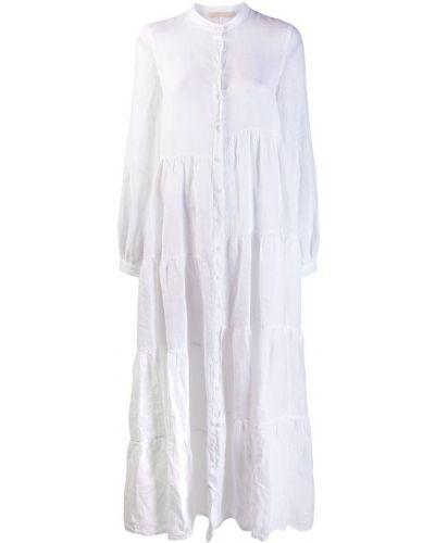 Платье макси с длинными рукавами - белое 120% Lino