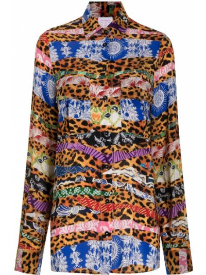Шелковая длинная рубашка с принтом с воротником Stella Jean