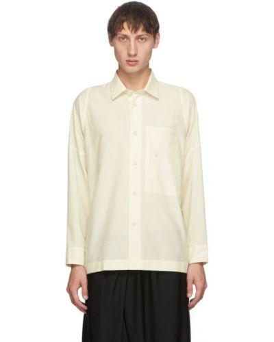 Biała koszula bawełniana z długimi rękawami 132 5. Issey Miyake