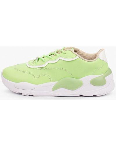 Зеленые кожаные кроссовки Moleca