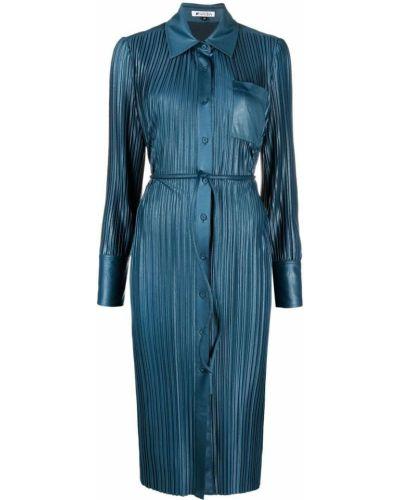Плиссированное синее платье миди с воротником Krizia