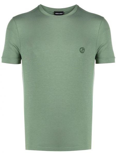 Зеленая рубашка с короткими рукавами с вышивкой Giorgio Armani