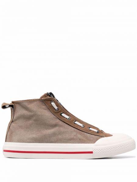Кроссовки на каблуке - коричневые Diesel