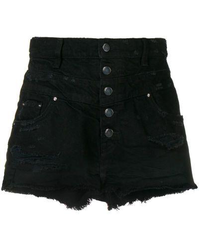 Черные джинсовые шорты с карманами со стразами Amiri