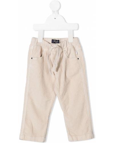 Бежевые брюки вельветовые с карманами Il Gufo