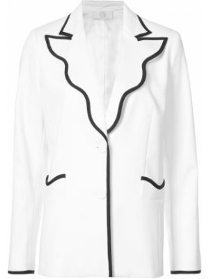 Облегающий хлопковый белый пиджак Sara Battaglia