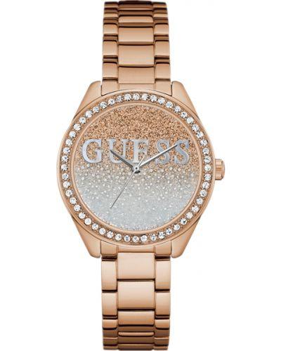 Кварцевые часы водонепроницаемые с камнями Guess