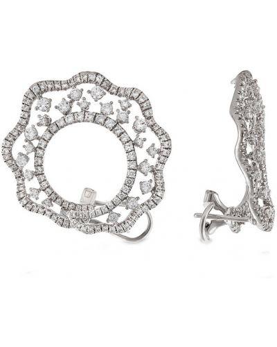 Серебряные серьги с бриллиантом с камнями Montebello
