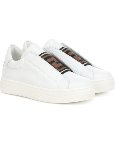 Кожаные кроссовки белый на резинке Fendi Kids