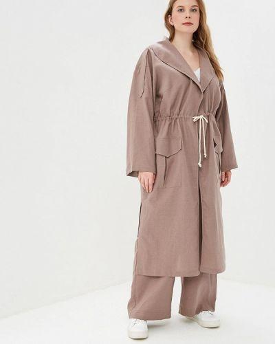 Плащ коричневый авантюра Plus Size Fashion