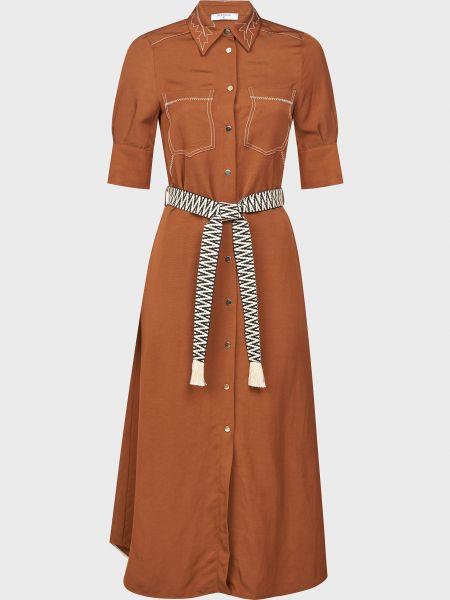 Коричневое платье с поясом из вискозы Beatrice.b