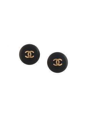 Czarne złote kolczyki sztyfty pozłacane Chanel Pre-owned