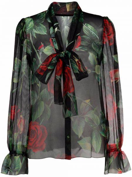 Черная блузка с принтом Dolce & Gabbana